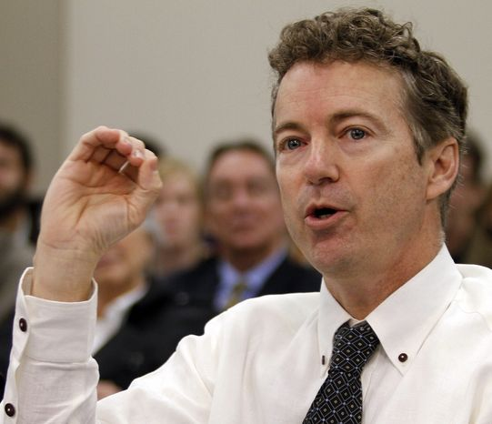**FILE** Sen. Rand Paul, Kentucky Republican, testifies before a state legislative committee on the legalization of growing hemp at the Capitol Annex in Frankfort, Ky., on Feb. 11, 2013. (Associated Press)