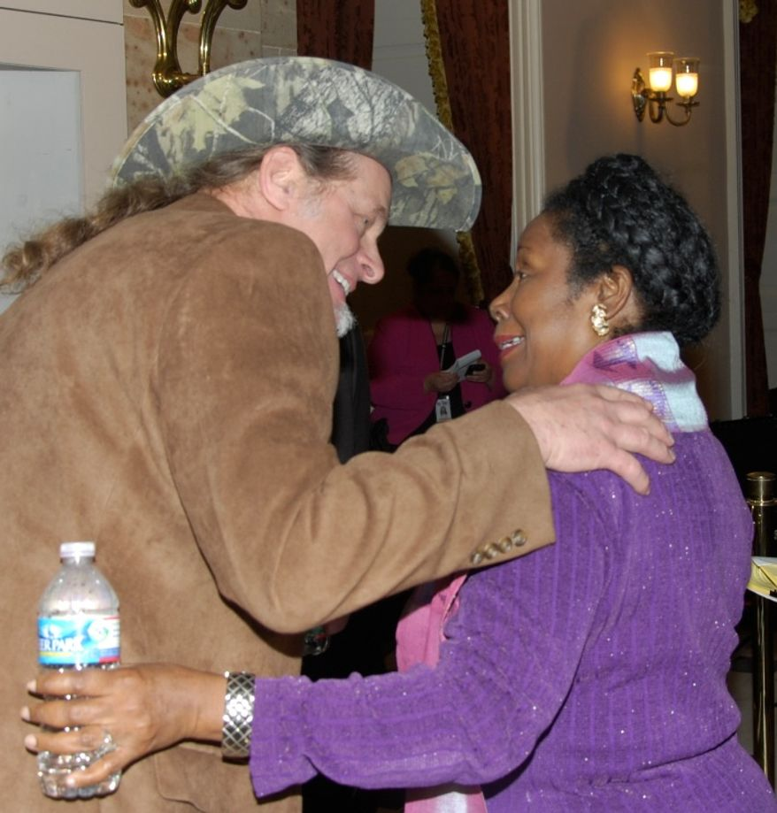 Ted Nugent and Rep. Sheila Jackson Lee after the State of the Union speech.