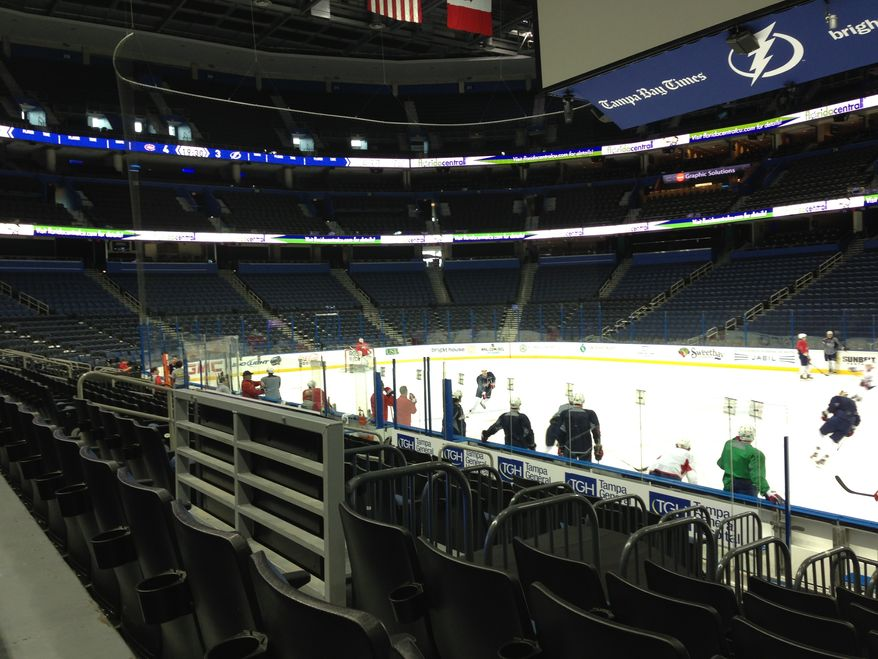 A day after erasing a two-goal deficit to beat the Panthers, the Capitals practiced at Tampa Bay Times Forum in preparation for Thursday night's game against the Lightning. (Stephen Whyno / The Washington Times)