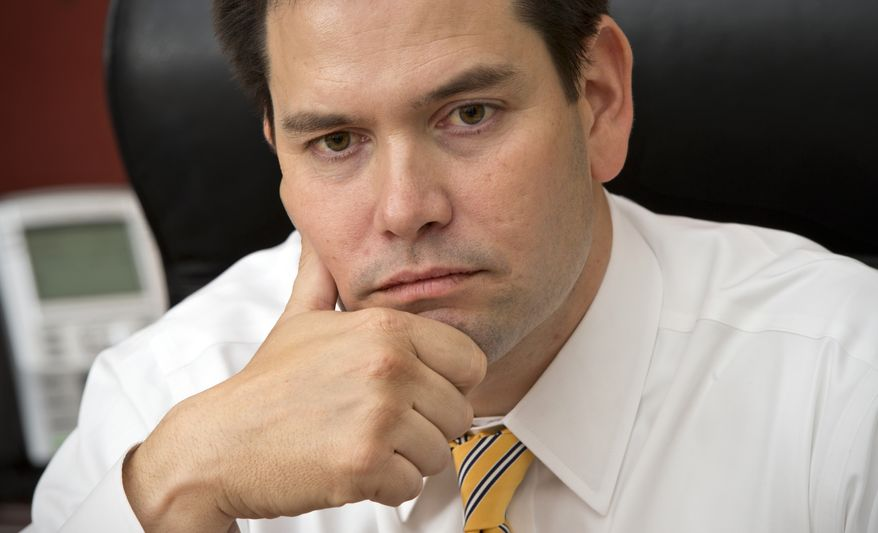 **FILE** Sen. Marco Rubio, Florida Republican, speaks Feb. 7, 2013, with The Associated Press in his Capitol Hill office in Washington. (Associated Press)