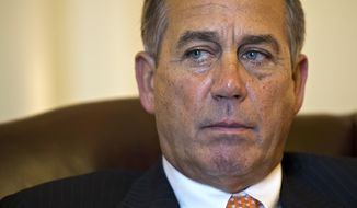 ** FILE ** Speaker of the House John Boehner, Ohio Republican, responds to President Obama's State of the Union speech during an interview with The Associated Press at his Capitol office in Washington on Feb. 13, 2013. (Associated Press)