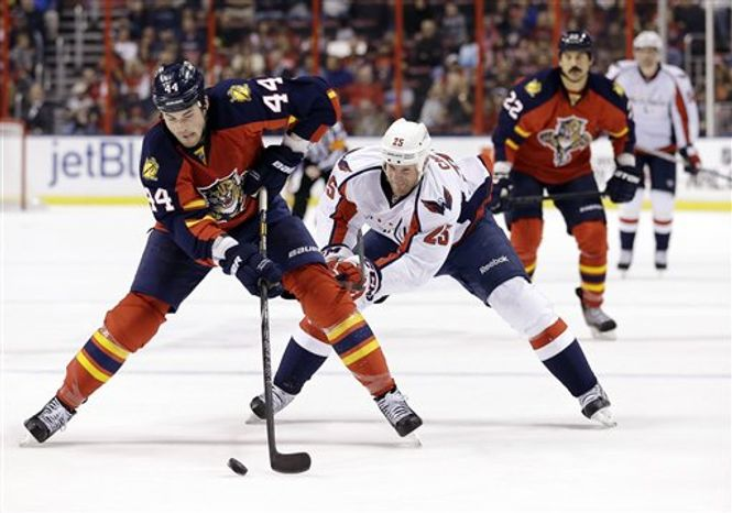 Jason Chimera (right) played 5:43 in the Capitals' victory over the Panthers on Tuesday night. (Associated Press)