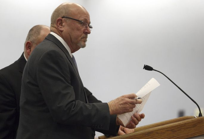 Clare Niederhauser attends a hearing on Tuesday, Feb. 12, 2013, at Second District Court in Layton, Utah. Mr. Niederhauser, who drew support from neighbors after he was arrested for shooting at a suspected burglar who was fleeing his property, apologized during a court appearance for taking matters into his own hands. He made the comments after agreeing to a plea deal that included a reduced charge. He also agreed to pay a $700 fee, take a weapons class and forfeit the weapon he used, a .357-caliber handgun. (AP Photo/Standard-Examiner, Nick Short)