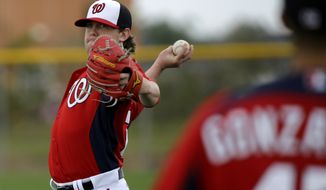 Washington Nationals pitcher Drew Storen throws during a spring training baseball workout Thursday, Feb. 14, 2013, in Viera, Fla. (AP Photo/David J. Phillip)