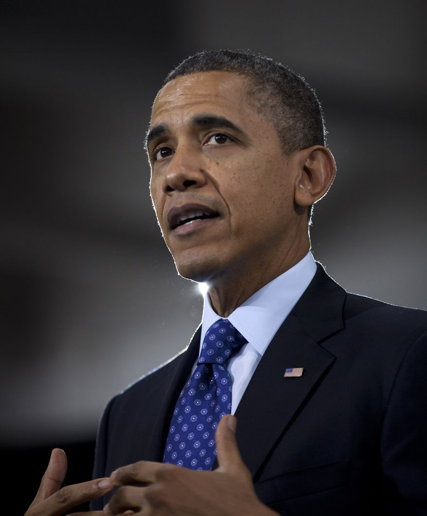 President Obama gestures during a speech on education on Feb. 14, 2013, at the Decatur Community Recreation Center in Decatur, Ga. The president is traveling to promote his economic and educational plan that he highlighted in his State of the Union address. (Associated Press)