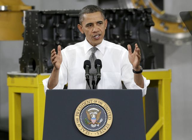 In this Feb. 13, 2013, photo, President Obama speaks to workers and guests at the Linamar Corp. plant in Arden, N.C. (AP Photo/Chuck Burton)