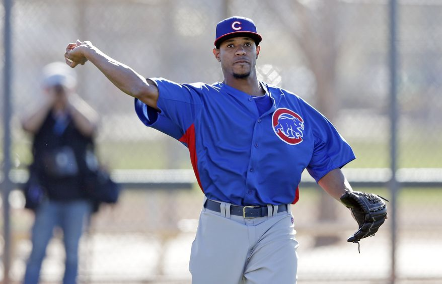 Chicago Cubs' Edwin Jackson during a spring training baseball workout Thursday, Feb. 14, 2013, in Mesa, Ariz. (AP Photo/Morry Gash)