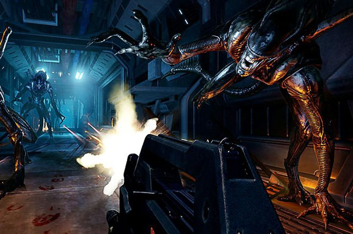 Fight off creatures in poorly lit corridors in the video game Aliens: Colonial Marines.