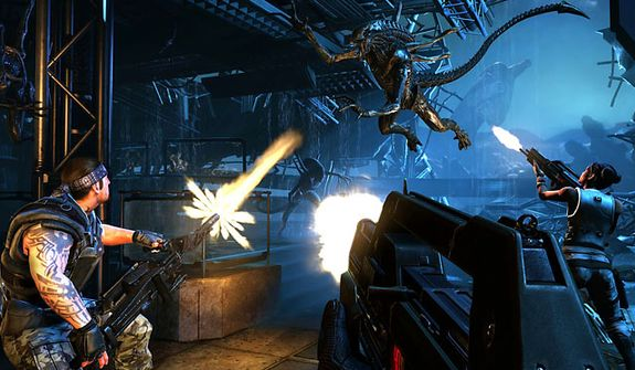 Soldiers fight off waves of Xenomorphs in the video game Aliens: Colonial Marines.