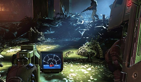 Use a handheld motion tracker to monitor Xenomorphs in the video game Aliens: Colonial Marines.