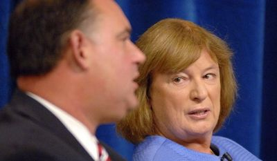 **FILE** Incumbent Rep. Frank Guinta, New Hampshire Republican, and Democratic challenger Carol Shea-Porter debate during the 1st Congressional District forum on Sept. 17, 2012, at St. Anselm College in Manchester, N.H. (Associated Press/The Union Leader)