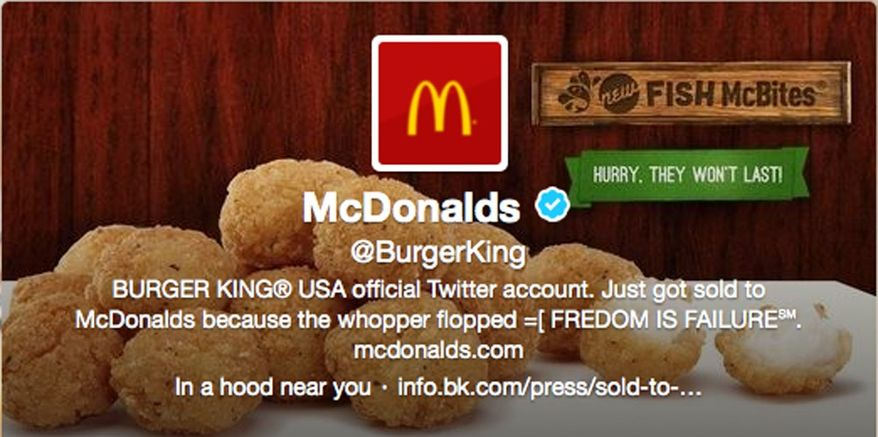 This frame grab taken Feb. 18, 2013, shows what appears to be Burger King's Twitter account after it was apparently hacked. Starting just after noon Eastern time that day, the fast-food company's Twitter picture was changed to a McDonald's logo, and the account tweeted that it had been sold to rival McDonald's. (Associated Press)