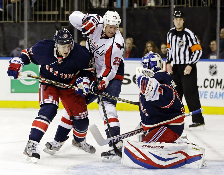 New York Rangers defenseman Ryan McDonagh (27) defends as Washington Capitals left wing Jason Chimera (25) tries for a shot against Rangers goalie Henrik Lundqvist (30), of Sweden, in the first period of their NHL hockey game at Madison Square Garden in New York, Sunday, Feb. 17, 2013. The Rangers won 2-1. (AP Photo/Kathy Willens)