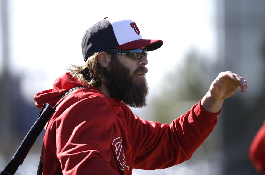 Washington Nationals outfielder Jayson Werth makes his way to a practice field during a spring training baseball workout Sunday, Feb. 17, 2013, in Viera, Fla. (AP Photo/David J. Phillip)