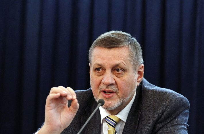 Jan Kubis, the top U.N. envoy in Afghanistan, presents the annual U.N. report on Afghan civilian casualties at a press conference in Kabul, Afghanistan, on Tuesday, Feb. 19, 2013. (AP Phot