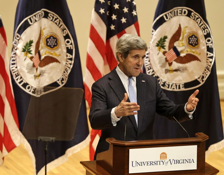 Secretary of State John Kerry delivers his first foreign policy speech on Feb. 20, 2013, in Old Cabel Hall at the University of Virginia in Charlottesville, Va. (Associated Press)