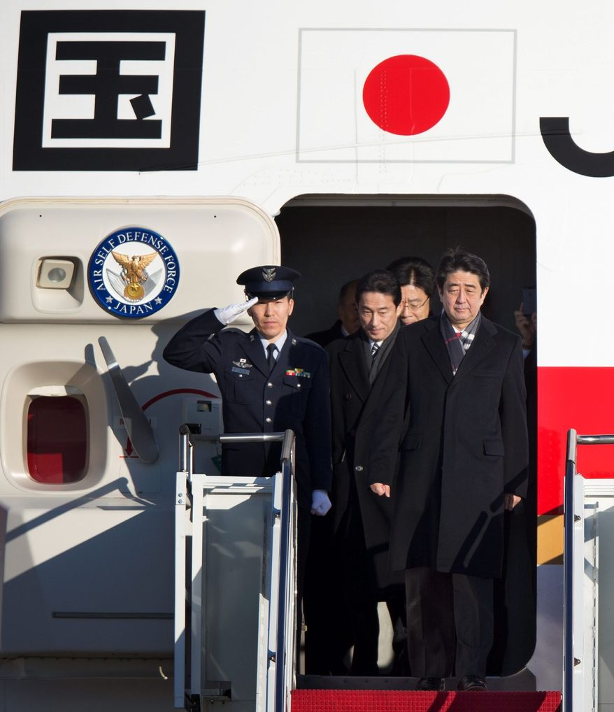 Japanese Prime Minister Shinzo Abe arrives Thursday at Andrews Air Force Base in Maryland for a meeting Friday with President Obama in the Oval Office. Cybersecurity will be among the topics on the two leaders' agenda. (Associated Press)