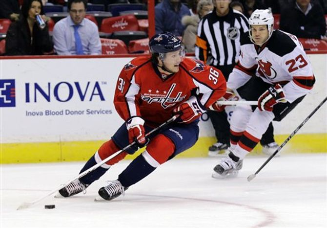 Washington Capitals defenseman Tomas Kundratek (36), of the Czech Republic, skates with the puck as New Jersey Devils center David Clarkson (23) watches in the first period of an NHL hockey game, Thursday, Feb. 21, 2013, in Washington. (AP Photo/Alex Brandon)