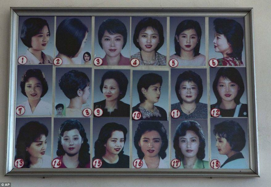 A hair salon in North Korea's capital of Pyongyang displays a list of permissible hairstyles for women.