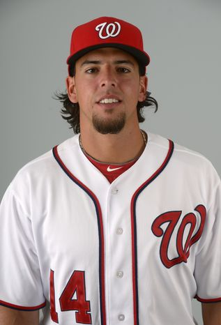 This is a 2013 photo of Chris Marrero of the Washington Nationals baseball team. This image reflects the Nationals active roster as of Feb. 20, 2013 when this image was taken.(AP Photo/Phelan M. Ebenhack)