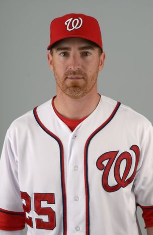 This is a 2013 photo of Adam LaRoche of the Washington Nationals baseball team. This image reflects the Nationals active roster as of Feb. 20, 2013 when this image was taken.(AP Photo/Phelan M. Ebenhack)