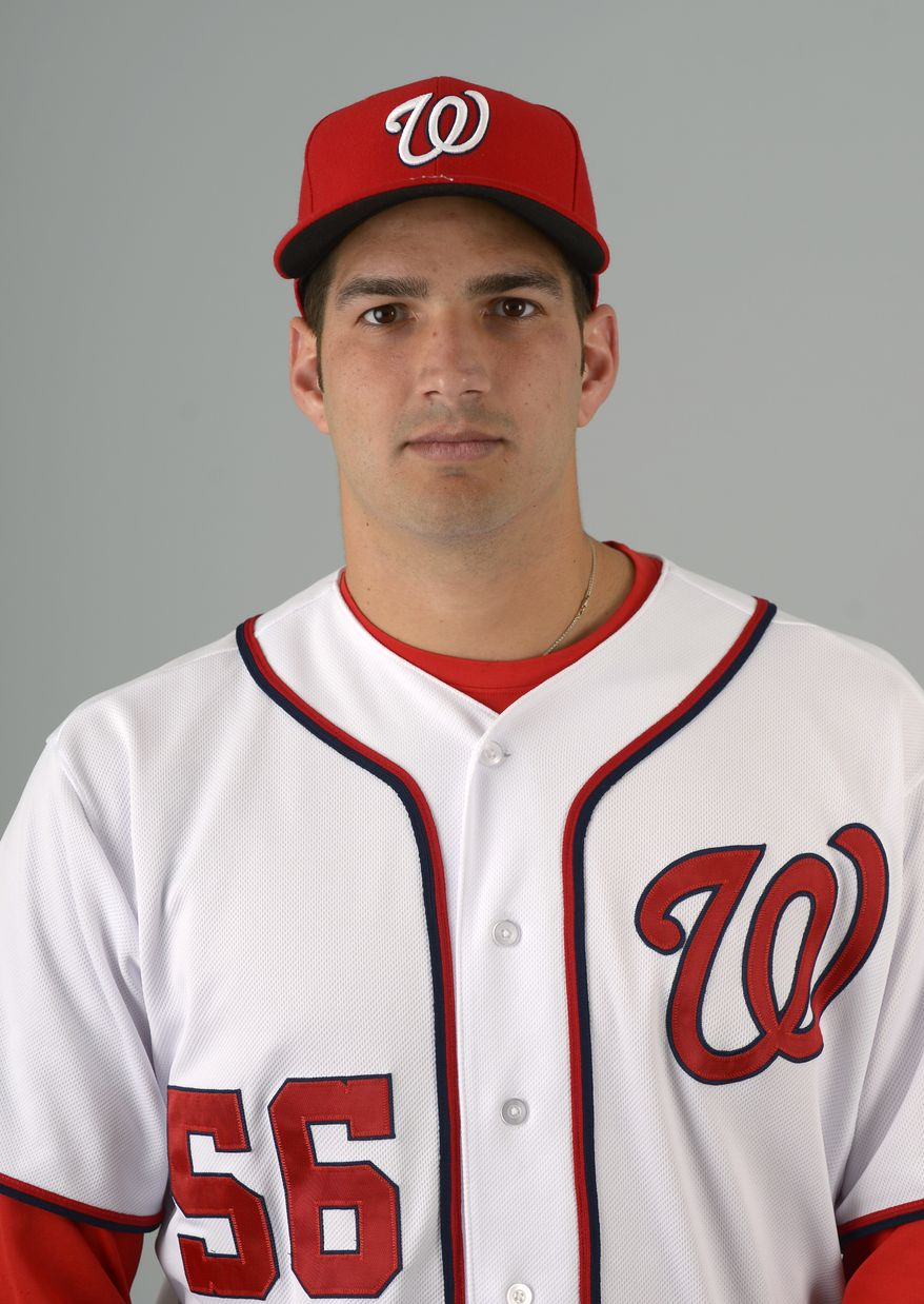 This is a 2013 photo of Christian Garcia of the Washington Nationals baseball team. This image reflects the Nationals active roster as of Feb. 20, 2013 when this image was taken.(AP Photo/Phelan M. Ebenhack)