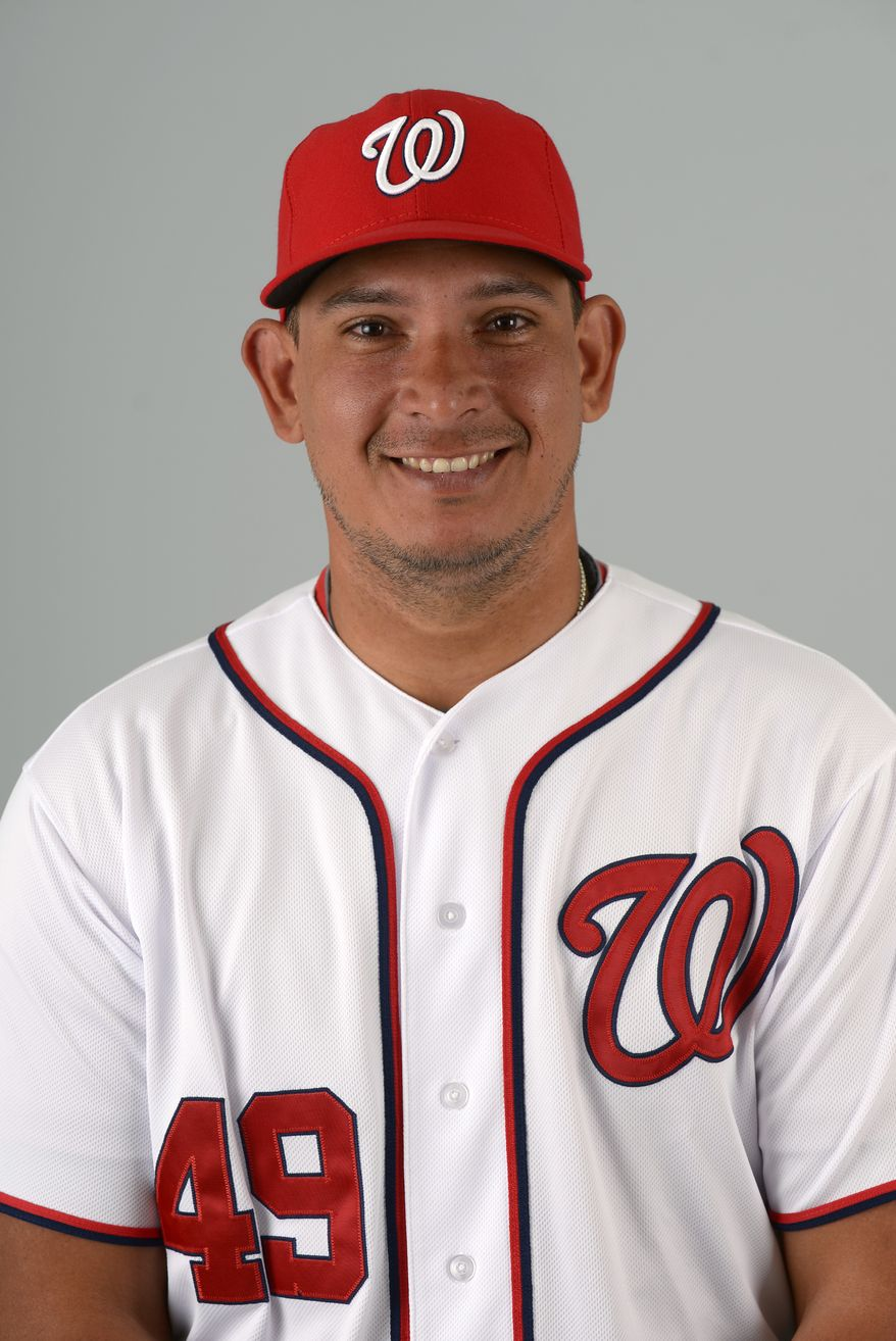 This is a 2013 photo of Carlos Maldonado of the Washington Nationals baseball team. This image reflects the Nationals active roster as of Feb. 20, 2013 when this image was taken.(AP Photo/Phelan M. Ebenhack)