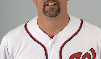 This is a 2013 photo of Paul Menhart of the Washington Nationals baseball team. This image reflects the Nationals active roster as of Feb. 20, 2013 when this image was taken.(AP Photo/Phelan M. Ebenhack)