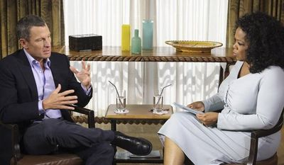 """**FILE** In this photo provided Jan. 14, 2013, by Harpo Studios Inc., talk show host Oprah Winfrey (right) interviews Lance Armstrong during taping for the show """"Oprah and Lance Armstrong: The Worldwide Exclusive"""" in Austin, Texas. (Associated Press/Courtesy of Harpo Studios, Inc.)"""