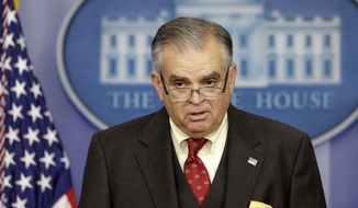 ** FILE ** Then-Transportation Secretary Ray LaHood briefs reporters regarding the sequester on Friday, Feb. 22, 2013, at the White House in Washington. (Associated Press)