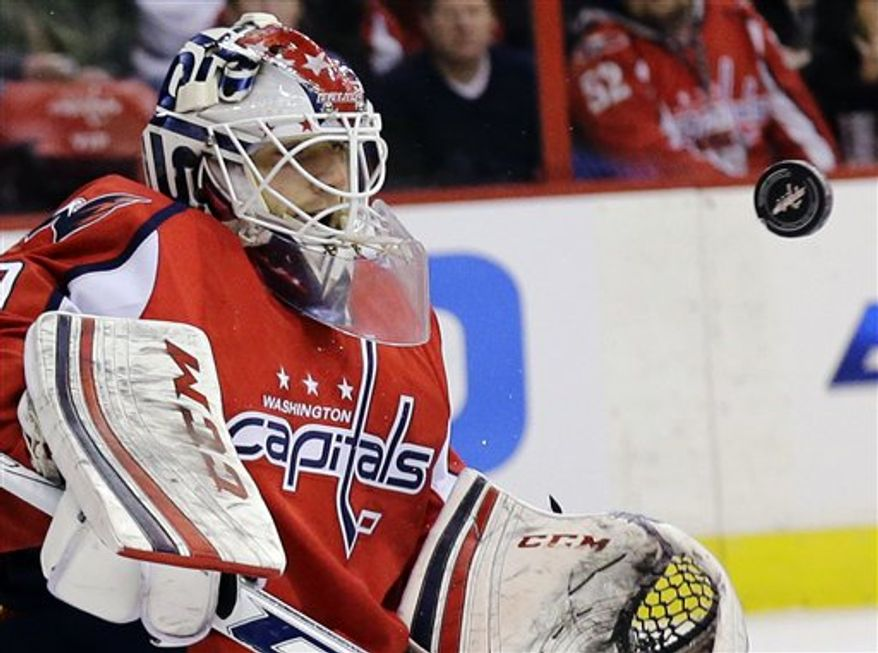 Capitals goaltender Braden Holtby made 21 saves in Saturday's victory over the Devils. (Associated Press)
