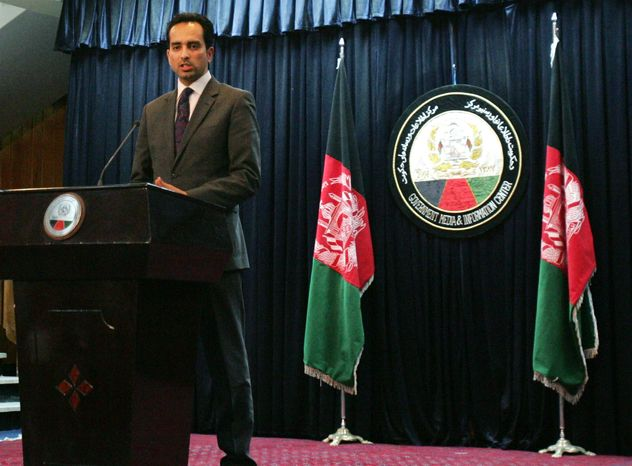 Afghanistan presidential spokesman Aimal Faizi speaks during a press conference in Kabul, Afghanistan, on Sunday, Feb. 24, 2013. Afghan President Hamid Karzai has ordered all U.S. special forces to leave eastern Wardak province within two weeks because of allegations that Afghans working with them are torturing and abusing other Afghans. (AP Photo/Ahmad Nazar)