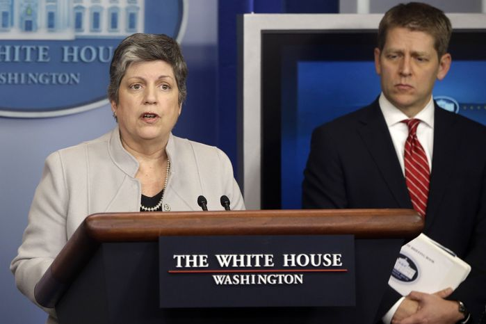 Homeland Security Secretary Janet Napolitano, accompanied by White House press secretary Jay Carney, briefs reporters on the sequester, Monday, Feb. 25, 2013, at the White House in Washington. (AP Photo