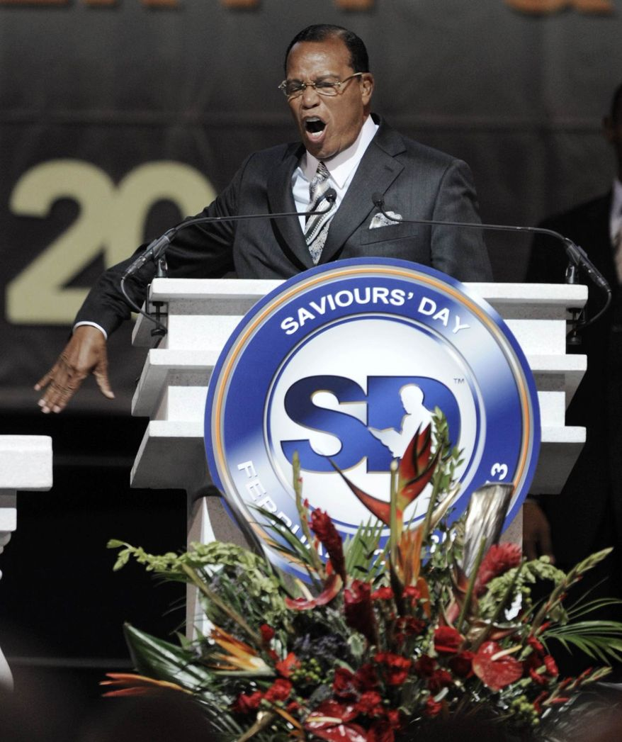 ** FILE ** Minister Louis Farrakhan speaks during the Saviours' Day annual convention at the U.I.C. Pavilion in Chicago, Sunday, Feb. 24, 2013. (AP Photo/Paul Beaty)