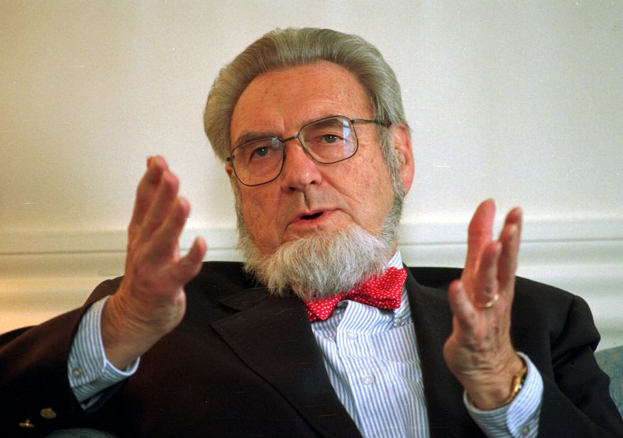 **FILE** Former Surgeon General Dr. C. Everett Koop discusses the proposed increase of the New Hampshire cigarette tax at the governor's office in the Statehouse in Concord, N.H., on May 12, 1997. (Associated Press)
