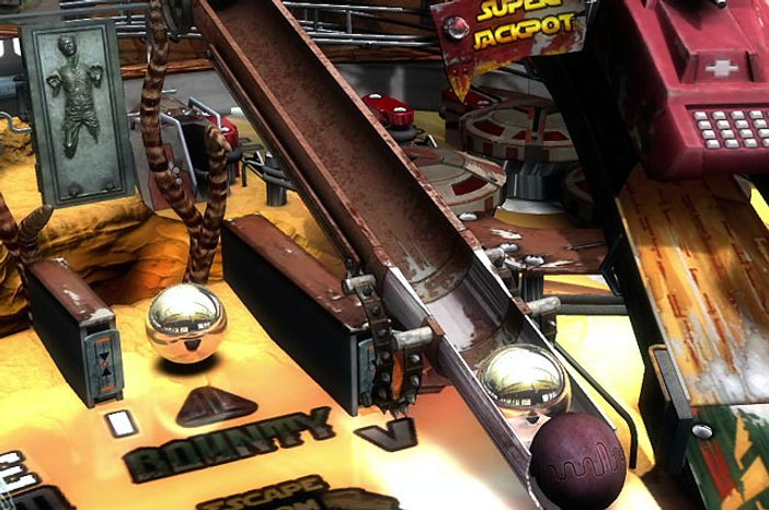 Boba Fett is grabbed by the Sarlacc in Star Wars Pinball.