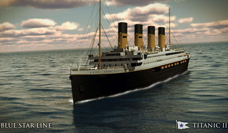 A rendering shows what the Titanic II will look like cruising at sea. Australian billionaire Clive Palmer says his plans to launch a copy of the Titanic and sail her across the Atlantic would be a tribute to those who built and backed the original. (Blue Star Line via Associated Press)