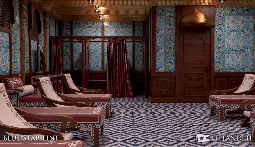 When not lounging in the Turkish bath (left) or working out in the gymnasium, the Titanic II will bring back memories of 1912. Passengers will be able to enjoy the cruise in historically costumes, if they choose, with clothing provided in every cabin.