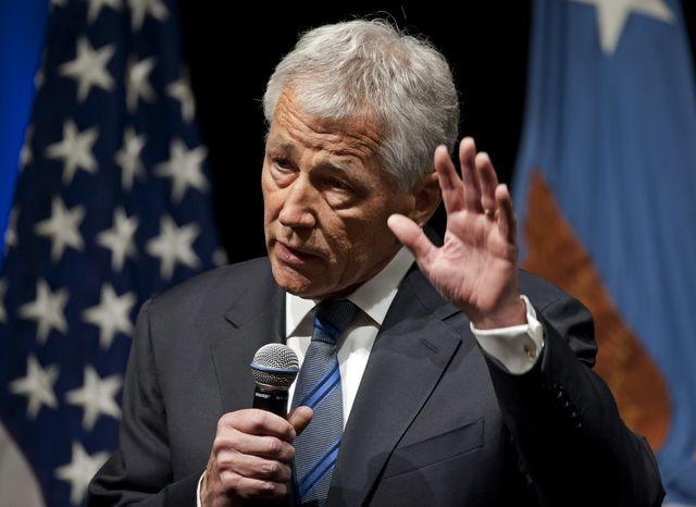 Defense Secretary Chuck Hagel speaks to service members and civilian employees at the Pentagon on Wednesday, Feb. 27, 2013, after being sworn in. (Associated Press)
