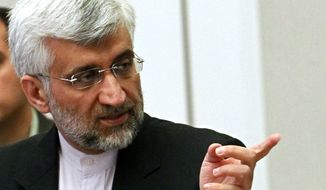 Iran's Supreme National Security Council Secretary and chief nuclear negotiator Saeed Jalili speaks during talks on Iran's nuclear program in Almaty, Kazakhstan, Wednesday, Feb. 27, 2013. (AP Photo/ Shamil Zhumatov, Pool)