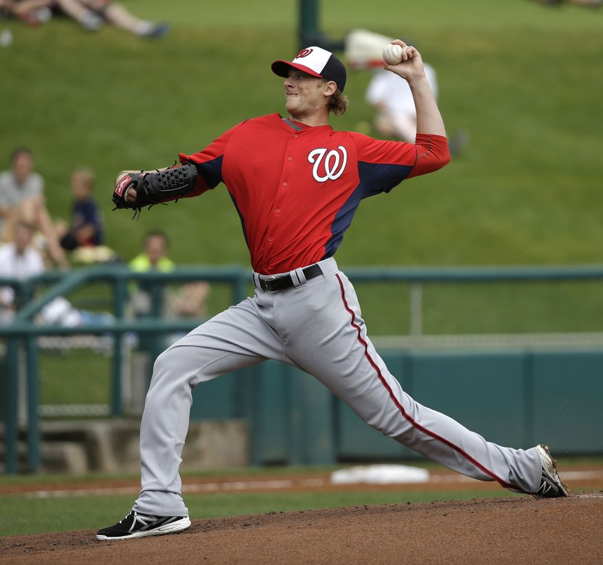 Washington Nationals pitcher Ross Detwiler throws against the Atlanta Braves during the first inning of an exhibition spring training baseball game Tuesday, Feb. 26, 2013, in Kissimmee, Fla. (AP Photo/David J. Phillip)