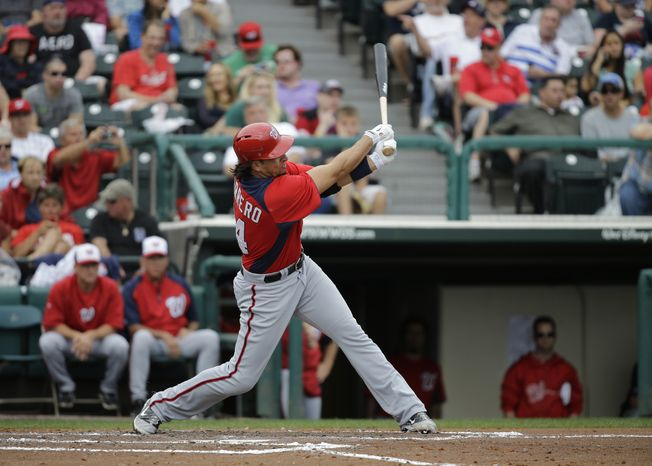 Washington Nationals' Chris Marrero bats against the Atlanta Braves during the third inning of an exhibition spring training baseball game Tuesday, Feb. 26, 2013, in Kissimmee, Fla. (AP Photo/D