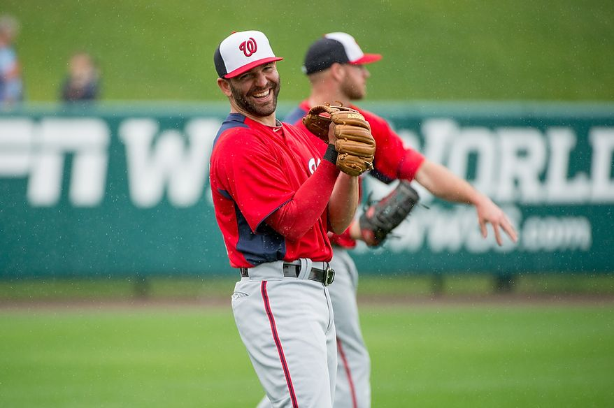 Washington Nationals second baseman Danny Espinosa (8) smiles before the Washington Nationals play the Atlanta Braves during spring training at Champion Stadium, Kissimmee, Fla., Tuesday, February 26, 2013. (Andrew Harnik/The Washington Times)