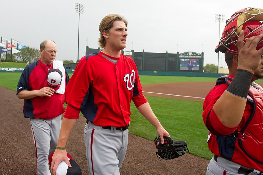 Washington Nationals starting pitcher Ross Detwiler (48) walks to the dugout before the Washington Nationals play the Atlanta Braves during spring training at Champion Stadium, Kissimmee, Fla., Tuesday, February 26, 2013. (Andrew Harnik/The Washington Times)