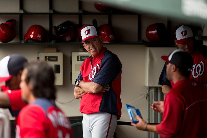 Washington Nationals manager Davey Johnson (5) as the Washington Nationals play the Atlanta Braves during spring training at Champion Stadium, Kissimmee, Fla., Tuesday, February 26, 2013. (Andrew Harnik/The Washington Times)