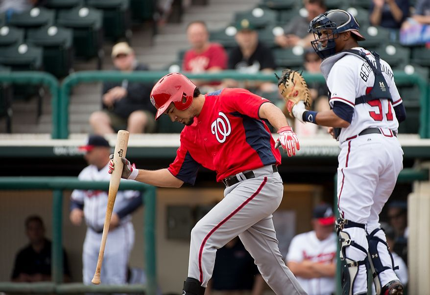 Washington Nationals third baseman Anthony Rendon (6), is struck out as the Washington Nationals play the Atlanta Braves during spring training at Champion Stadium, Kissimmee, Fla., Tuesday, February 26, 2013. (Andrew Harnik/The Washington Times)