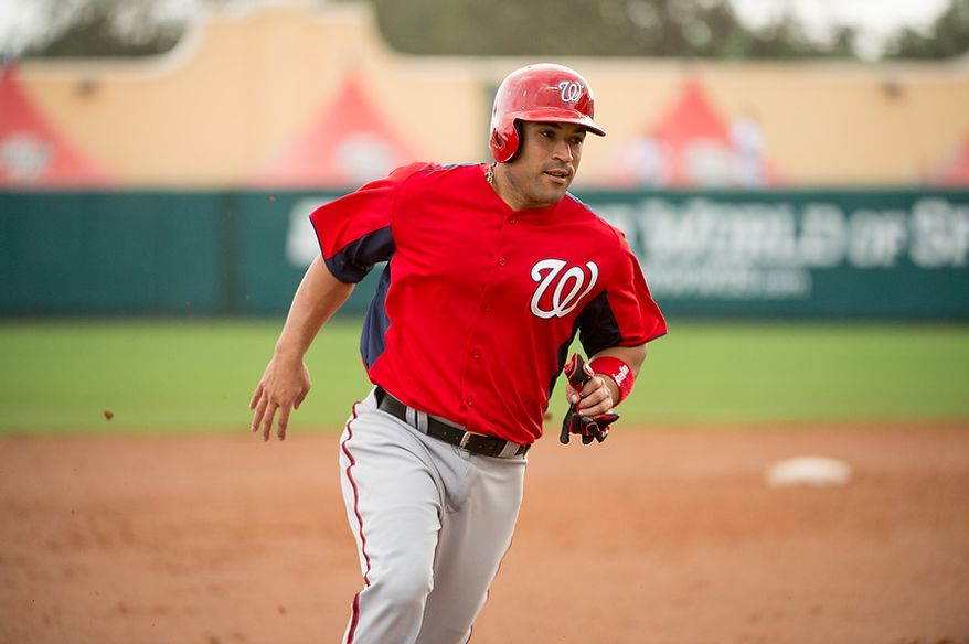 Washington Nationals catcher Sandy Leon (41) as the Washington Nationals play the Atlanta Braves during spring training at Champion Stadium, Kissimmee, Fla., Tuesday, February 26, 2013. (Andrew Harnik/The Washington Times)
