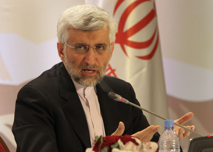 Iran's Supreme National Security Council Secretary and chief nuclear negotiator Saeed Jalili answers a question during a final news conference in Almaty, Kazakhstan, Wednesday, Feb. 27, 2013. (AP Photo/Pavel Mikheyev)