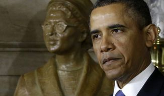 President Obama speaks at the unveiling of a statue of Rosa Parks on Feb. 27, 2013, on Capitol Hill in Washington. (Associated Press)