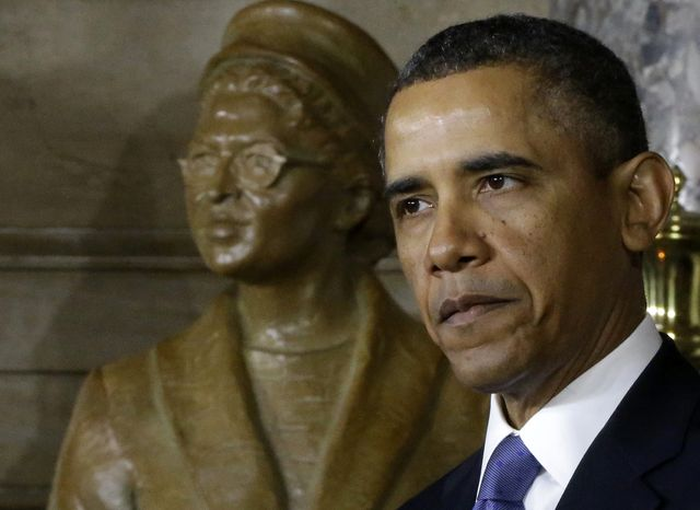 President Obama speaks at the unveiling of a statue of Rosa Parks on Feb. 27, 2013, on Capitol Hill in Washington. (Asso
